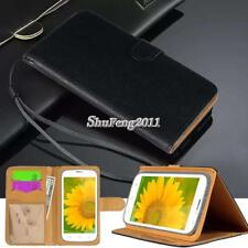 Black Flip Cover Stand Wallet Leather Case For Various Doogee SmartPhones +Strap