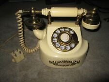 Vtg 1970 cream & gold color Coquette rotary dial French princess style telephone