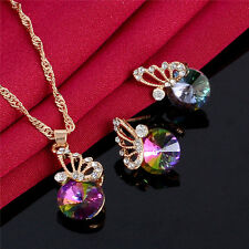 Charming 18K Gold Plated Rainbow Crystal Butterfly Necklace+Earrings Jewelry Set