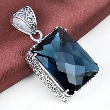 49 Ct ! Handemade Huge London Blue Topaz Gems Vintage Silver Neckalce Pendants