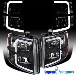 For 2007-2013 Chevy Silverado 1500 2500 3500 HD Black LED Bar Tube Headlights