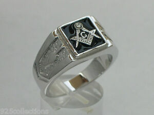10x10 mm Masonry 925 Sterling Silver Black Enamel Square Mason Men Ring Size 12