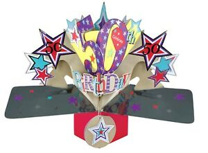 50th Birthday Card 3D Pop Up Card Male Husband Brother Gift Card