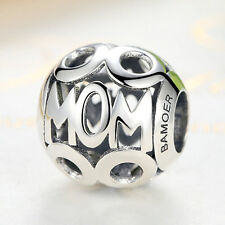 925 Sterling Silver Mom Letter CZ Charm Hollow Beads fit Bracelet Chain Necklace