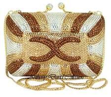 Anthony David Gold Bronze Clear Crystal Clutch Evening Bag w/ Swarovski Crystals