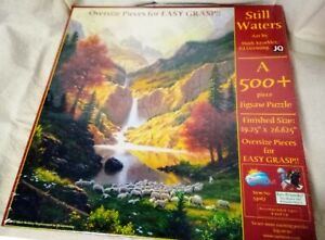 """Jigsaw Puzzle, Landscape Waterfall Sheep """"Still Waters"""", 500 pieces, made in USA"""
