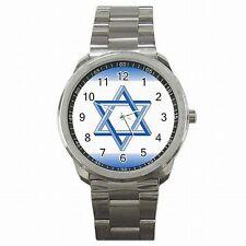 Star of David Jewish Jerusalem Accessory Stainless Steel Sport Watch New!
