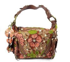 "Isabella Fiore "" Cut a Rug "" Embroider Floral Design Shoulder Bag Purse Satchel"