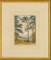 Early 20th Century Watercolour - Landscape View with Three Trees
