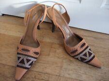 BALDININI Ladies Leather Hugh Heel Shoes Snakeskin / Suede / Mesh Pattern 38 5