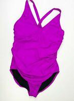 Speedo Powerflex Womens size 16 Wired One piece swimsuit Magenta Pink ruched