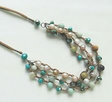 Genuine Cultured Freshwater Pearl & Mixed Bead Leather Cord 3-Strand Necklace