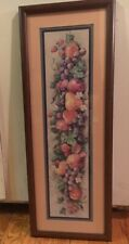 "Home Interiors Fruit Swag Wood Framed Matted Picture Barbara Mock 28.5""x10 3/8"""