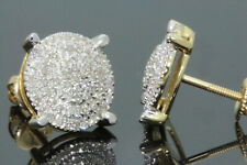 10K YELLOW GOLD .50 CARAT MENS WOMENS 10 mm 100% GENUINE DIAMONDS EARRING STUDS