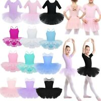 Girls Kids Ballet Dance Leotards Dress Ballerina Tutu Skirt Dancewear Costumes