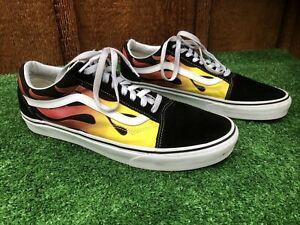 VANS Old Skool Flame Hot Rod Skateboarding Shoes Black/Orange/Yellow Mens Sz 12