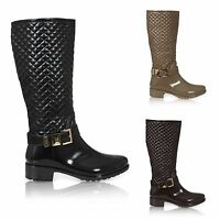 NEW WOMENS QUILTED WELLINGTON BOOTS BUCKLE ZIP UP QUILT WELLIES SHOES SIZE 3-8