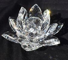 CRYSTAL CUT GLASS LOTUS FLOWER SWAROVSKI REPLICA ORNAMENT WITH GIFT BOX