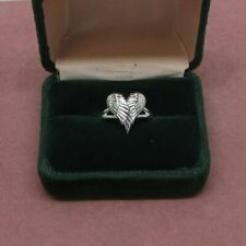 Sterling Silver heart shaped Angel Wing ring size 7 925 hallmark