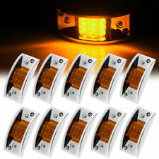 10x 12LED Amber Sealed Chrome Armored LED Trailer RV Clearance Side Marker Light