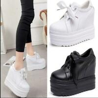 Womens Platform Wedge 15cm Heel Pumps Casual Sneakers Creeper Leather Shoes HOT