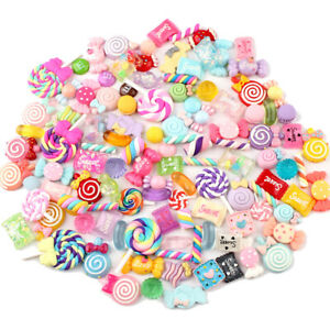 100PCS/LOT Slime Charms Mixed Resin Candy Sweets Beads Bead Making DIY Tools