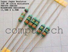 33 Ohm 3W RESISTENZA a filo avvolto YAGEO PNP300 series ultra miniature 5 pezzi