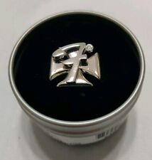 Fender brand ring Iron Cross with letter F on top that spins size 9 silver black