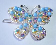 Light Blue Butterfly Hair Clip Rhinestone Crystal Beads Barrette Wedding Prom