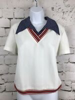 Vintage 1960s 1970s Sweater Collared Retro White Red Blue Mod Preppy Size M/L