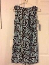 NEW Ladies Size 4P AGB DRESS PETITE Blue & Brown Printed Dress Reatail $68.00