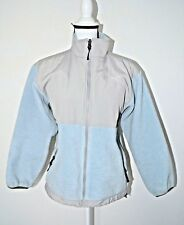 Preowned Youth/Junior North Face Jacket L/G Soft blue Gray Logo Front & Back