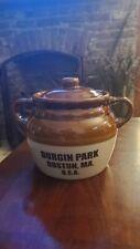 Antique Vintage Durgin Park Boston MA Bean Soup Pot Crock Large Heavy With Lid