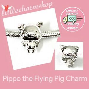 New Authentic Genuine PANDORA Silver Pippo the Flying Pig Charm - 798253