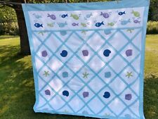 """Jcpenney Embroidered quilt Shower Curtain- Shells, Fish. Blue fabric. 72""""X 72"""""""
