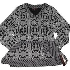 Dana Buchman 3x Blouse Modern Tribal Smoked Pearl Waist Tie