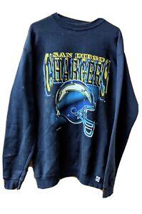 Vtg San Diego Chargers Sweatshirt Logo 7 NFL Team Helmet Double Sided Size Large