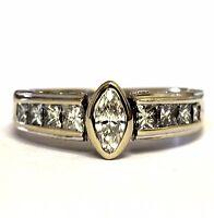 18k white gold 1.37ct bezel set marquise diamond engagement ring 7.2g estate