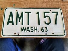 VINTAGE BASE PLATE 63 AMT 157 WASHINGTON LICENSE PLATE SOLID ORIGINAL
