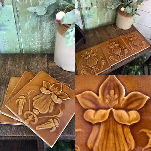"""3 Original Antique 6 """" ART NOVEAU Tile Tiles Caramel Flower Head Relief Design"""