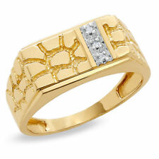 Men's Cz Accent Rectangle Nugget Ring 10k Solid Yellow Gold