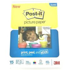 3M Post-it Sticky Picture Paper NEW 8-1/2 X 11 Semi Gloss 15 Sheets  NEW IN PKG