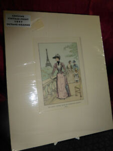 Antique 1897 Francois Courbin ART PRINT Eiffel Tower from the Exhibition Gardens