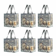 Reusable Grocery Bags Shopping Totes  Laminated Holiday Xmas (Pack of 6)