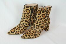 J.Crew Women's $258 Pointed Toe Sadie Boots/Booties Leopard Calf Hair Size 7.5