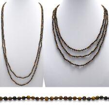 "Genuine Tiger Eye 70"" Long 4.5mm Bead Stranded Necklace"