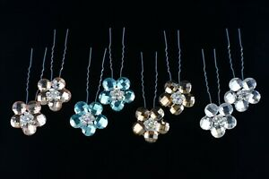 BLING! Large Stick-Style Hair Pins w/Crystal Flower Accent - YOUR CHOICE!