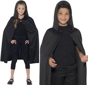 Childs Fancy Dress Hooded Cape Black Kids Unisex Cloak by Smiffys