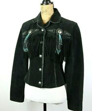 Scully Western Fringe Women's Jacket Suede Leather Turquoise Beaded Size XS