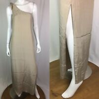 $298 Natalie Deayala Women's Large Silk One Shoulder Tan Column Maxi Dress Gown